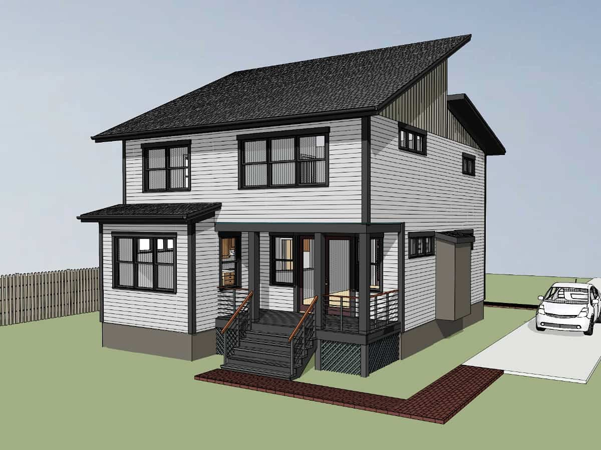 Contemporary, Modern House Plan 76620 with 3 Beds, 3 Baths Rear Elevation