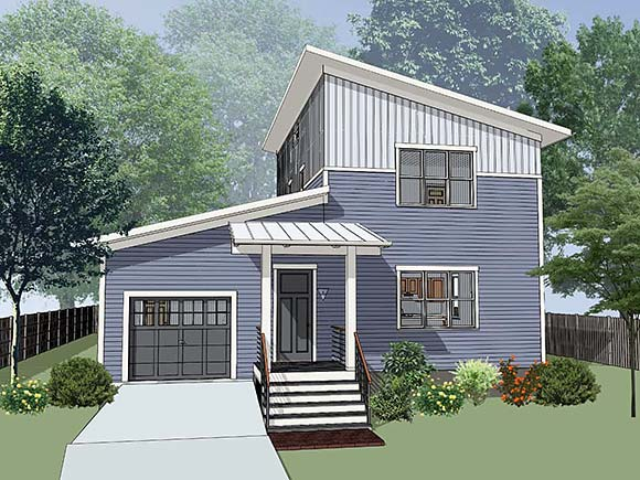 Contemporary, Modern House Plan 76622 with 3 Beds, 3 Baths, 1 Car Garage Elevation