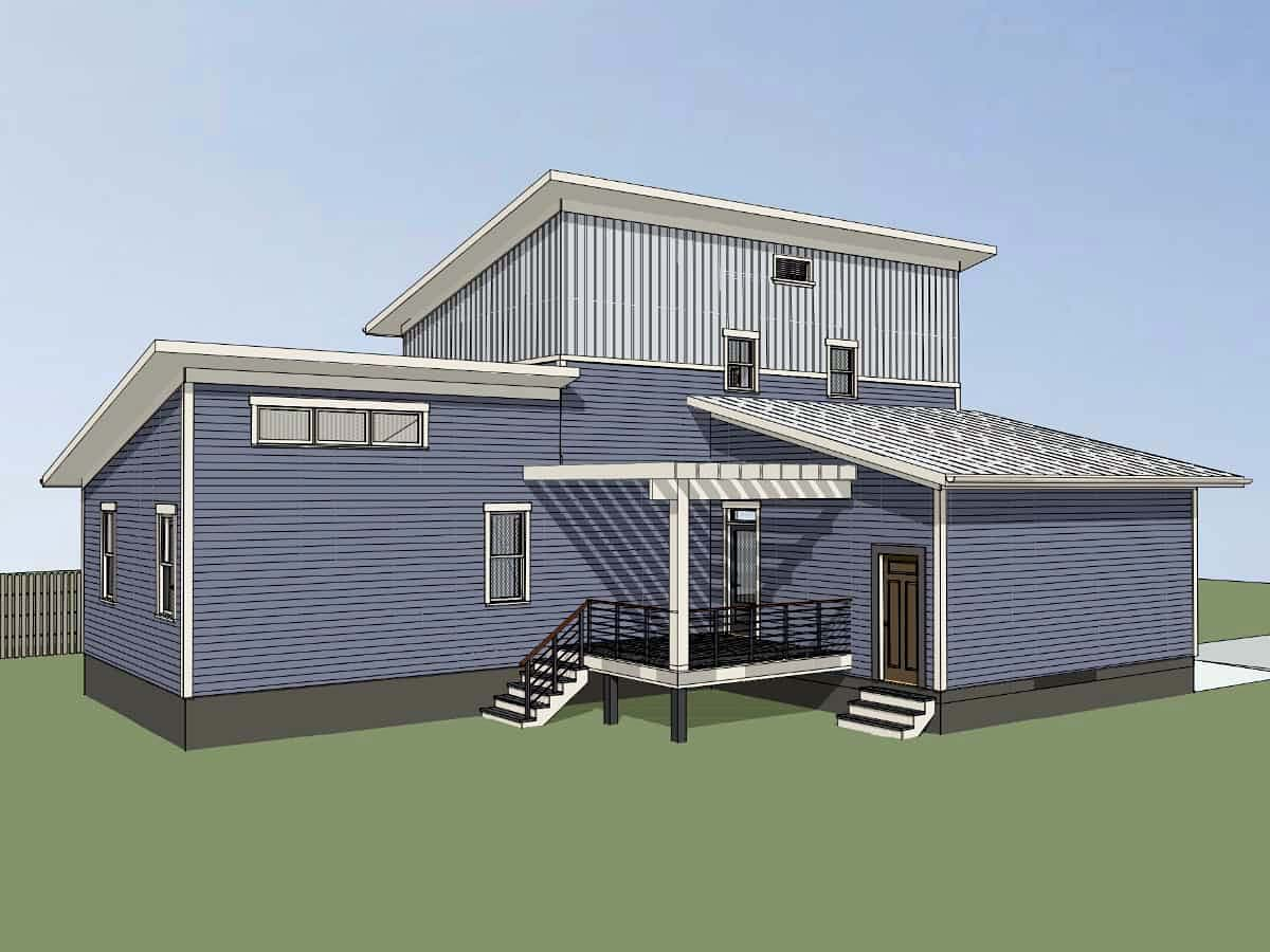 Contemporary, Modern House Plan 76622 with 3 Beds, 3 Baths, 1 Car Garage Picture 2