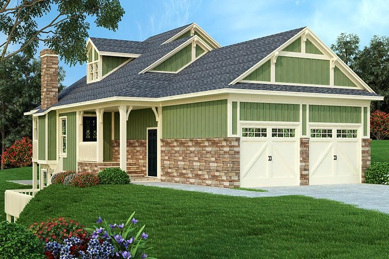 Cottage, Country, Traditional House Plan 76918 with 3 Beds, 4 Baths, 2 Car Garage Elevation