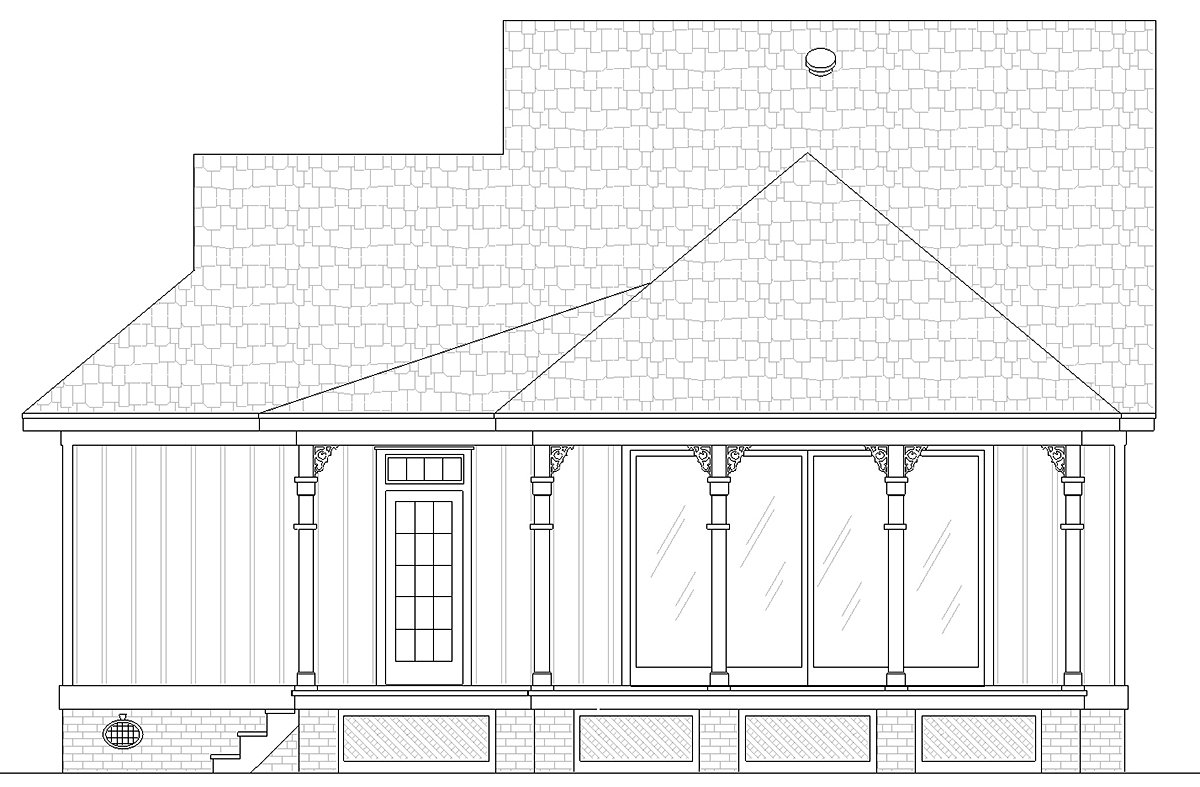 Cottage House Plan 76942 with 1 Beds, 2 Baths Rear Elevation