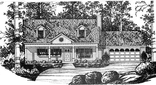Cape Cod, Country House Plan 77008 with 3 Beds, 2 Baths, 2 Car Garage Elevation