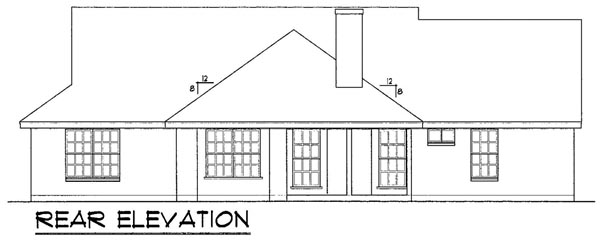 Colonial, One-Story, Traditional House Plan 77041 with 4 Beds, 2 Baths, 2 Car Garage Rear Elevation