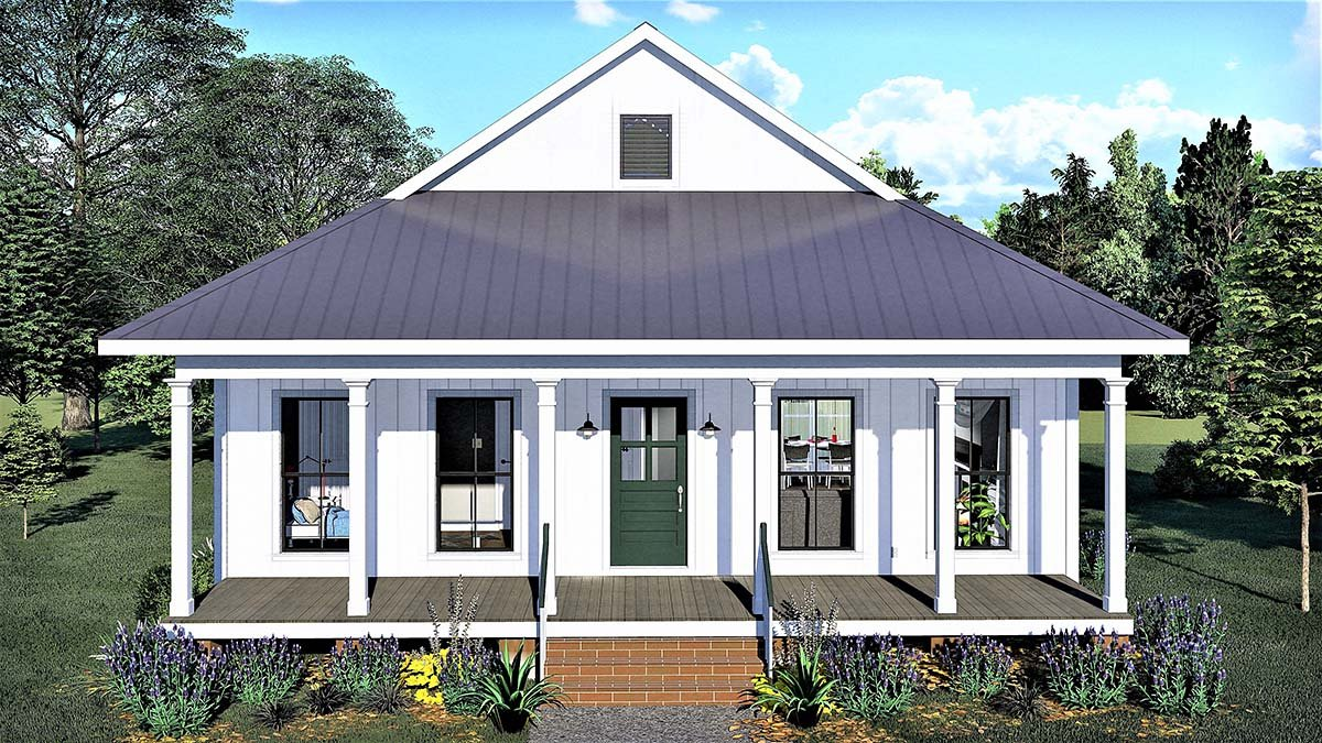 Country, Southern House Plan 77404 with 2 Beds, 1 Baths Elevation