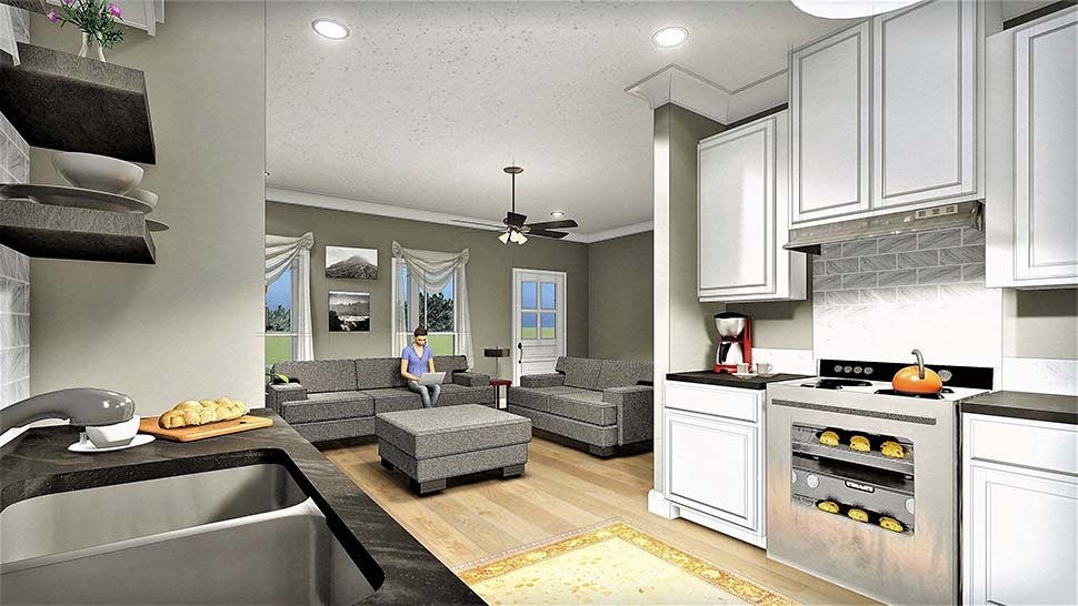 Country, Southern House Plan 77404 with 2 Beds, 1 Baths Picture 6