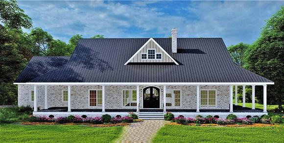 Country, Farmhouse, Plantation House Plan 77409 with 3 Beds, 2 Baths, 2 Car Garage Elevation