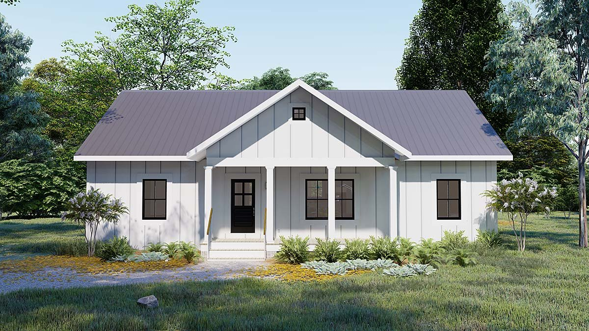 Cottage, Country, Traditional House Plan 77413 with 3 Beds, 2 Baths Elevation
