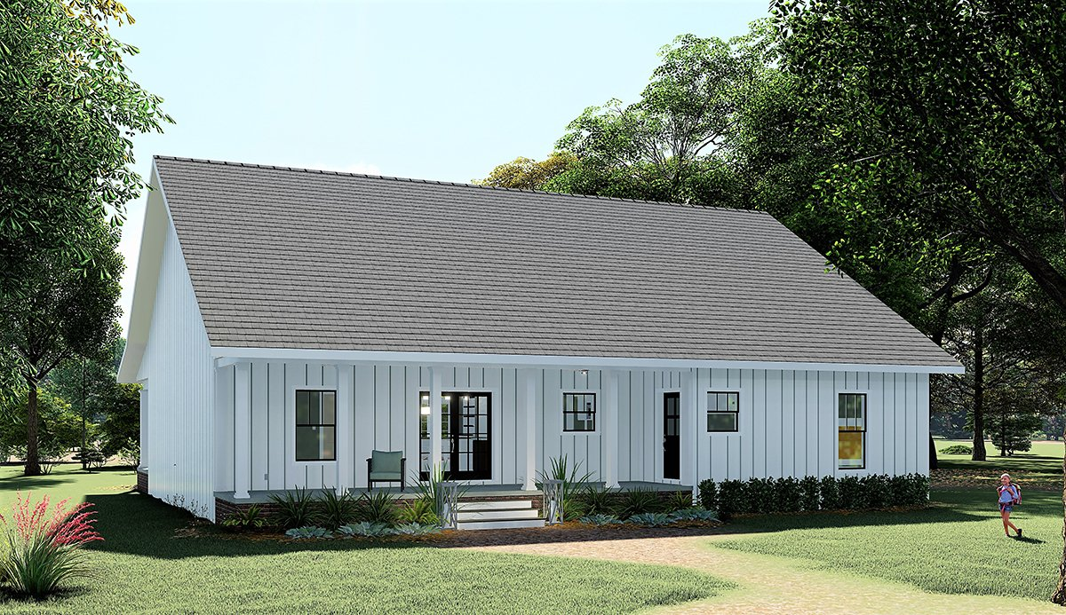 Country, Farmhouse House Plan 77414 with 4 Beds, 3 Baths Rear Elevation