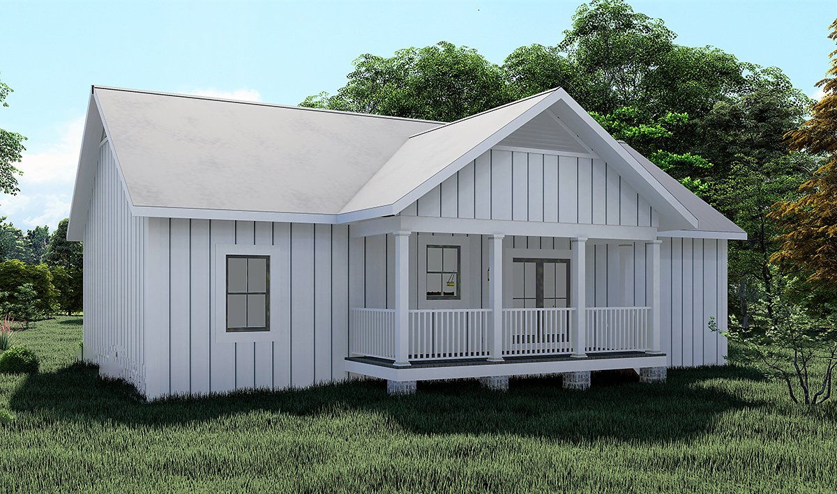 Cottage, Country House Plan 77415 with 3 Beds, 2 Baths Rear Elevation