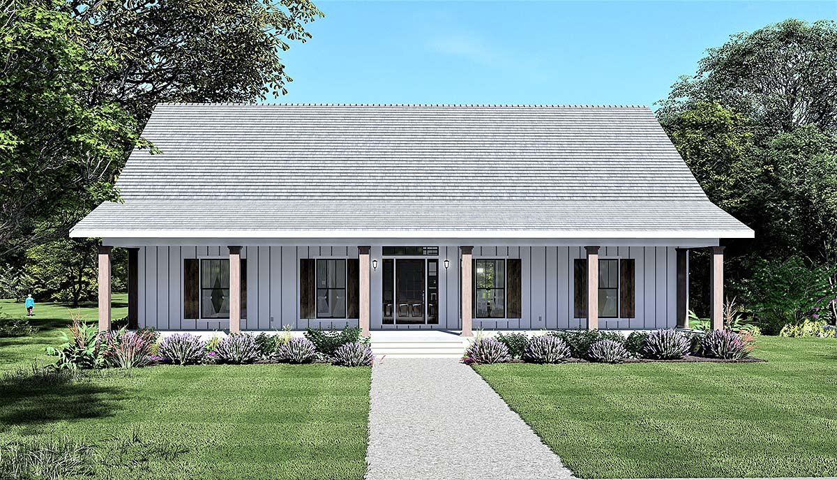 Country, Farmhouse, Southern House Plan 77416 with 4 Beds, 2 Baths Elevation