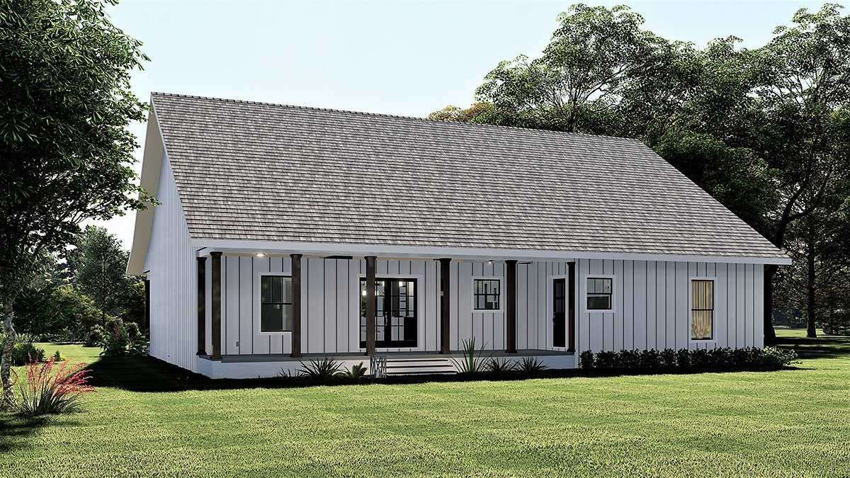 Country, Farmhouse, Southern House Plan 77416 with 4 Beds, 2 Baths Rear Elevation