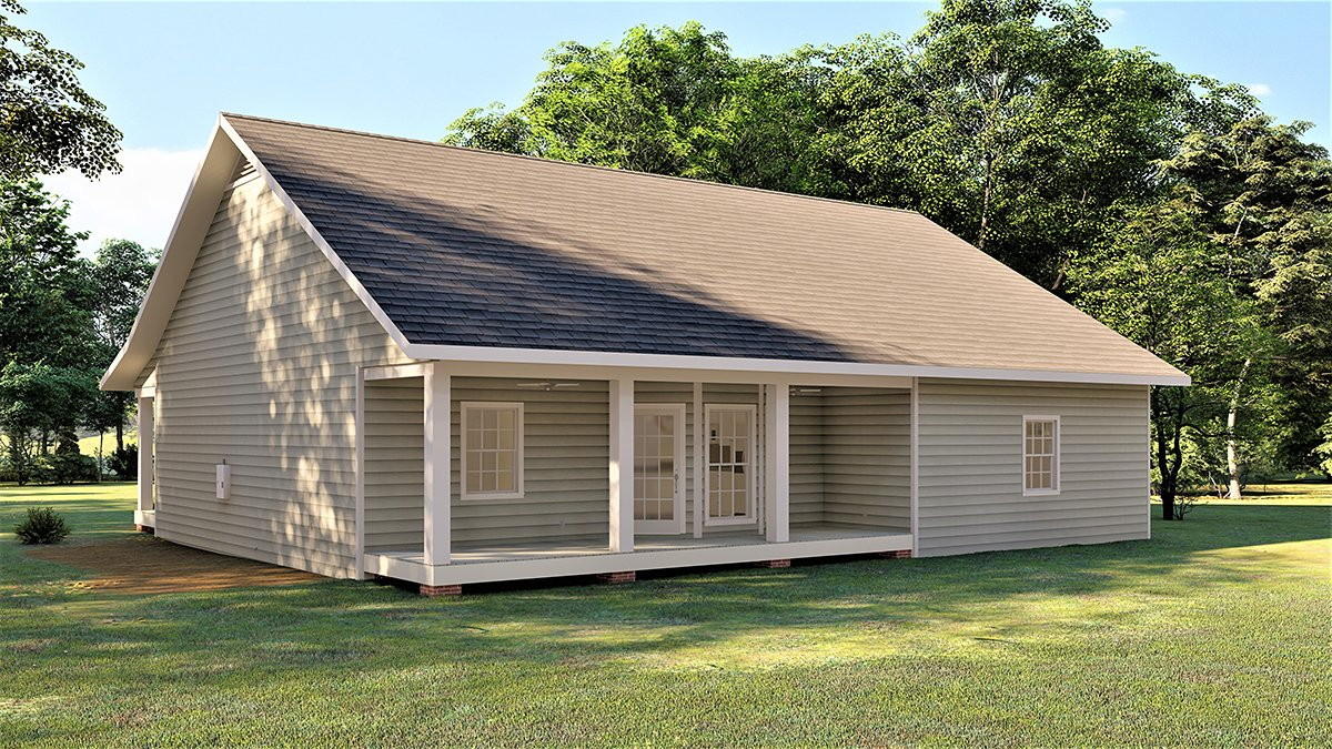 Country, Southern House Plan 77417 with 3 Beds, 2 Baths, 2 Car Garage Rear Elevation