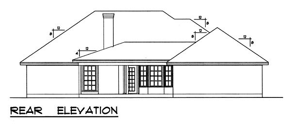 Traditional House Plan 77756 with 3 Beds, 2 Baths, 2 Car Garage Rear Elevation