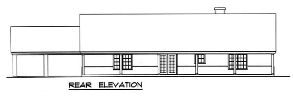 Country House Plan 77759 with 3 Beds, 2 Baths Rear Elevation