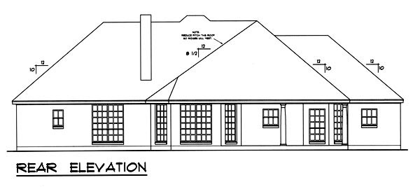 Traditional House Plan 77762 with 3 Beds, 2 Baths, 2 Car Garage Rear Elevation