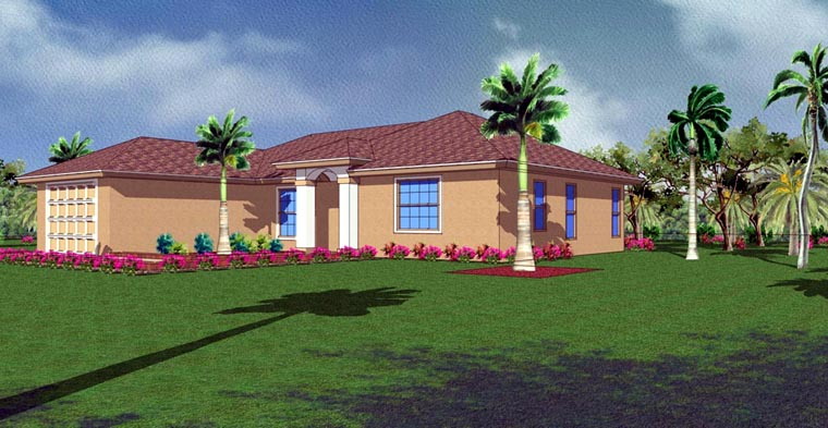 Mediterranean House Plan 78102 with 3 Beds, 2 Baths, 1 Car Garage Elevation