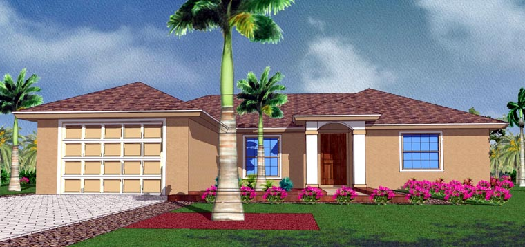 Mediterranean House Plan 78102 with 3 Beds, 2 Baths, 1 Car Garage Picture 1