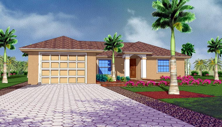 Mediterranean House Plan 78102 with 3 Beds, 2 Baths, 1 Car Garage Picture 2