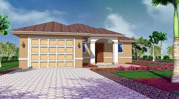 Mediterranean House Plan 78108 with 3 Beds, 2 Baths, 1 Car Garage Elevation