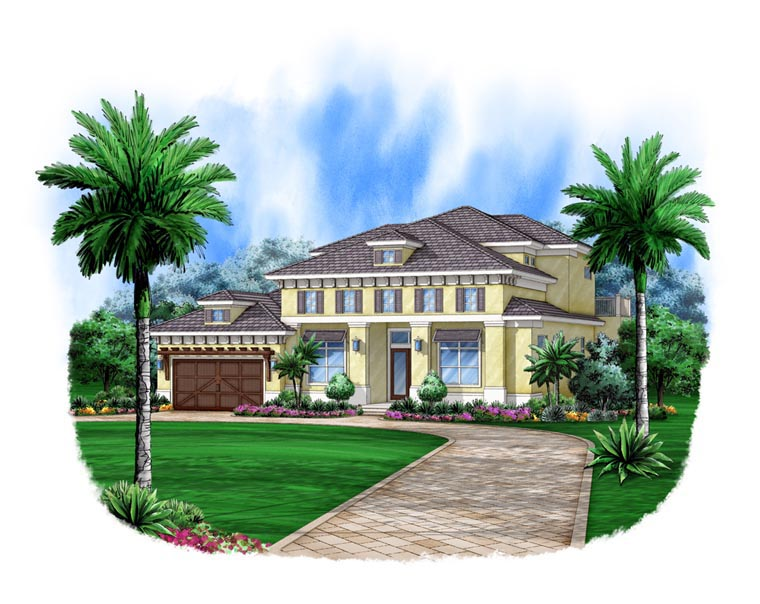 Florida, Mediterranean House Plan 78111 with 4 Beds, 4 Baths, 2 Car Garage Elevation