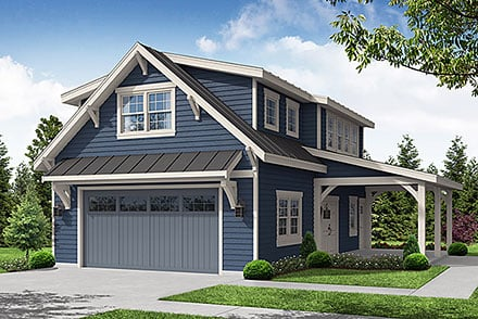 Garage-Living Plan 78412