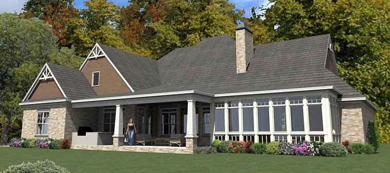 Craftsman, Traditional House Plan 78894 with 5 Beds, 4 Baths, 3 Car Garage Rear Elevation