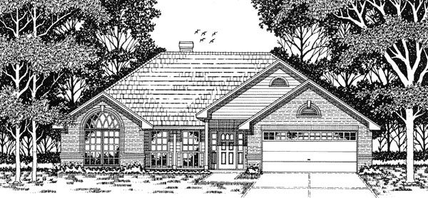 European, One-Story House Plan 79093 with 3 Beds, 2 Baths, 2 Car Garage Elevation