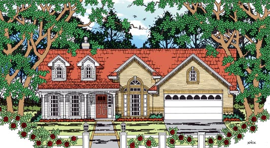 Country, One-Story House Plan 79261 with 3 Beds, 3 Baths, 2 Car Garage Elevation