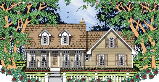 Country, One-Story House Plan 79263 with 3 Beds, 2 Baths, 2 Car Garage Elevation