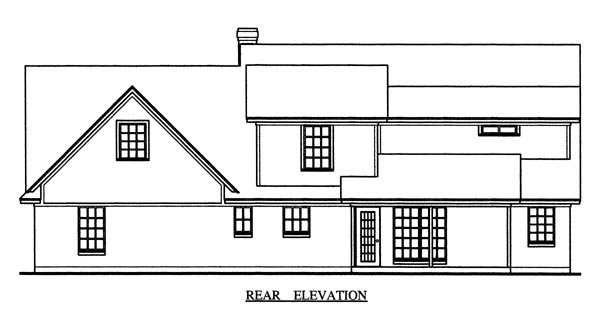 Country House Plan 79273 with 4 Beds, 3 Baths, 2 Car Garage Rear Elevation