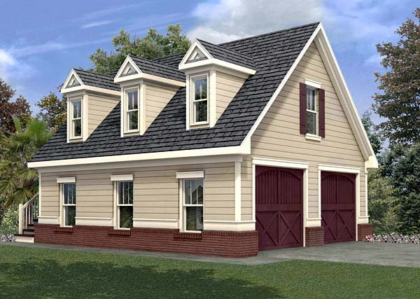 2 Car Garage Apartment Plan 80246 with 1 Beds, 1 Baths Elevation