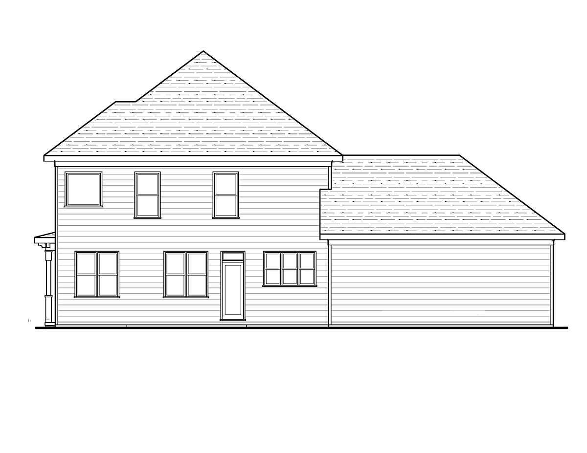 Country, Craftsman, Narrow Lot House Plan 80262 with 4 Beds, 3 Baths, 2 Car Garage Rear Elevation