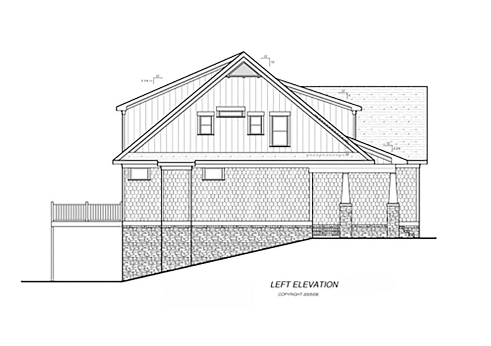 Bungalow, Cottage, Craftsman, Narrow Lot House Plan 80265 with 4 Beds, 4 Baths, 2 Car Garage Picture 2