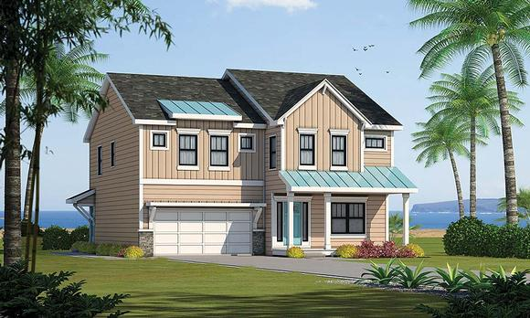 Coastal, Southern House Plan 80419 with 4 Beds, 4 Baths, 2 Car Garage Elevation