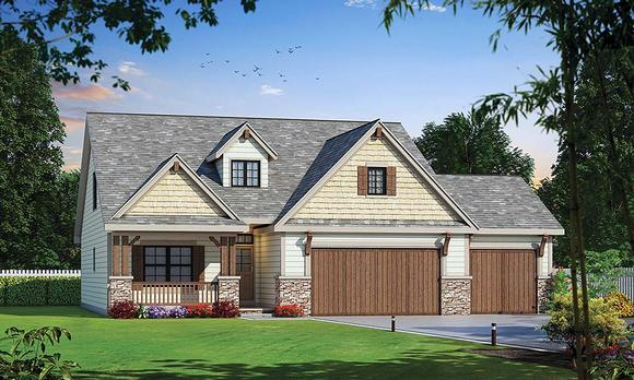 Country, Craftsman House Plan 80432 with 4 Beds, 4 Baths, 3 Car Garage Elevation