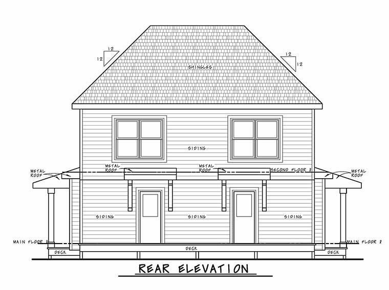 Southern, Traditional Multi-Family Plan 80447 with 4 Beds, 6 Baths Rear Elevation