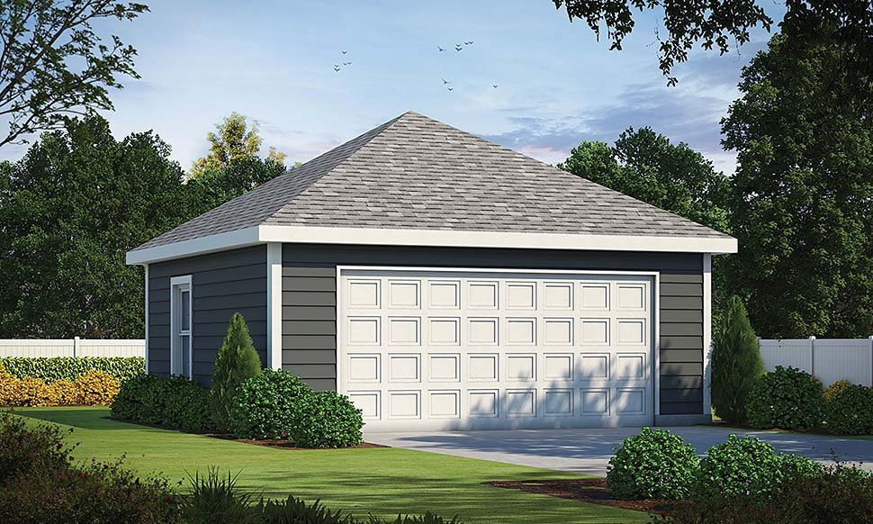 2 Car Garage Plan 80448 Elevation