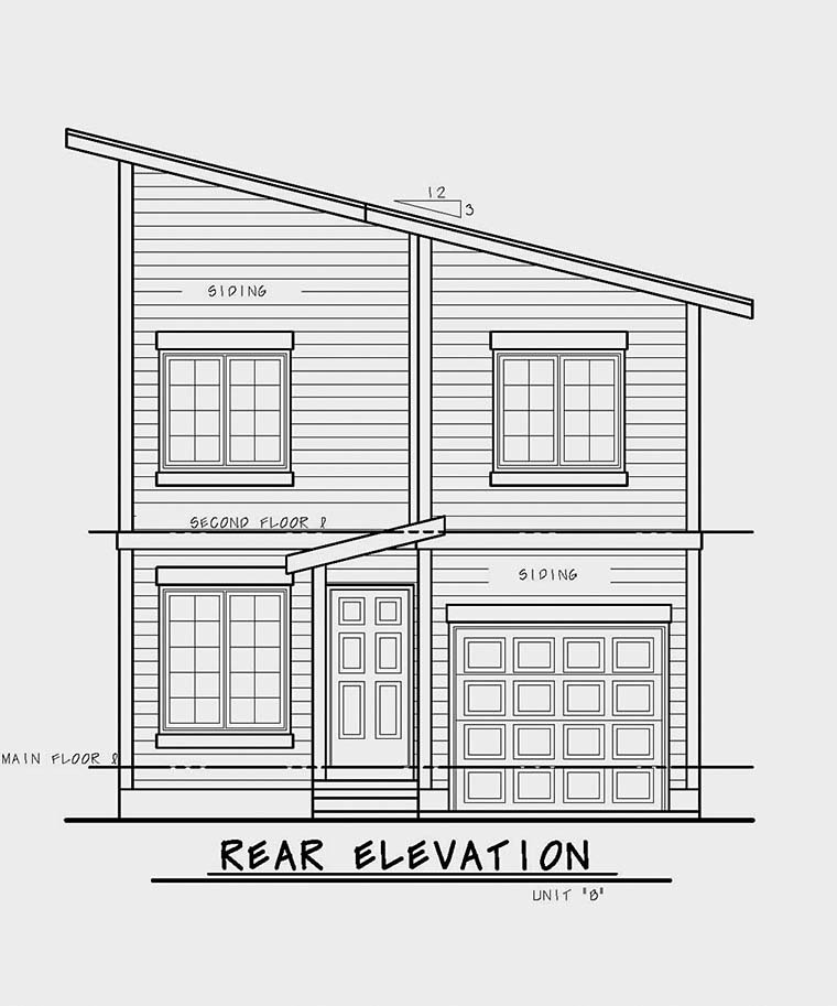Contemporary, Modern Multi-Family Plan 80461 with 6 Beds, 6 Baths, 2 Car Garage Rear Elevation