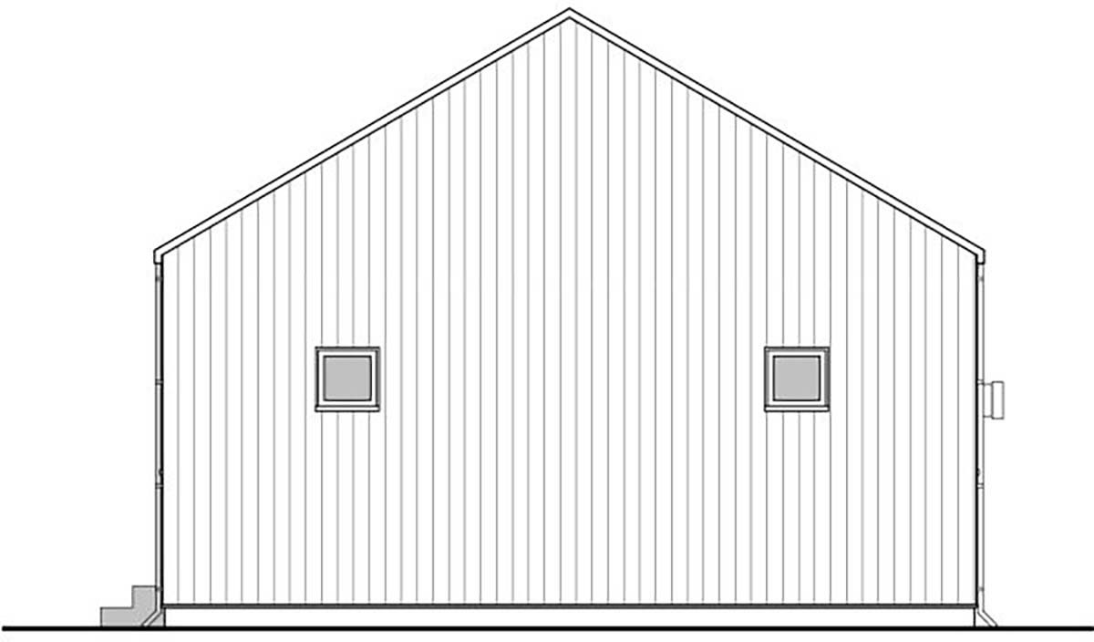 Cabin, Ranch, Traditional House Plan 80501 with 3 Beds, 2 Baths Rear Elevation