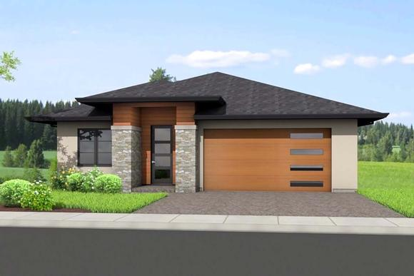 Ranch House Plan 80505 with 4 Beds, 3 Baths, 2 Car Garage Elevation