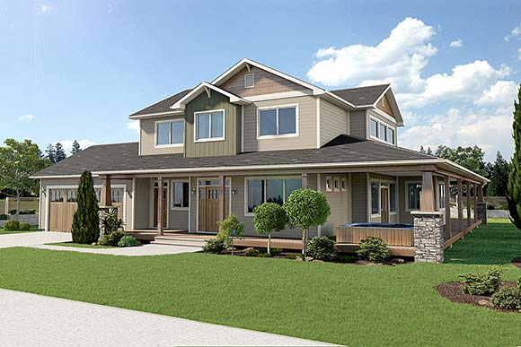 Country, Craftsman, Traditional House Plan 80510 with 3 Beds, 3 Baths, 2 Car Garage Elevation