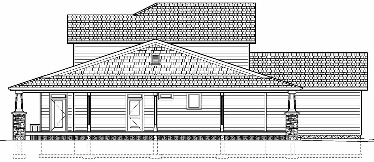 Country, Craftsman, Traditional House Plan 80510 with 3 Beds, 3 Baths, 2 Car Garage Rear Elevation