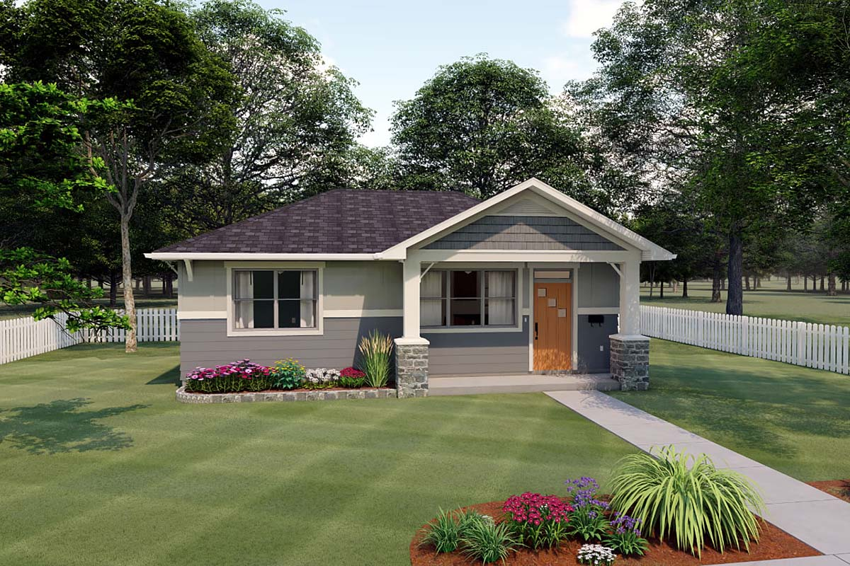 Bungalow, Cottage, Craftsman House Plan 80515 with 1 Beds, 1 Baths Elevation