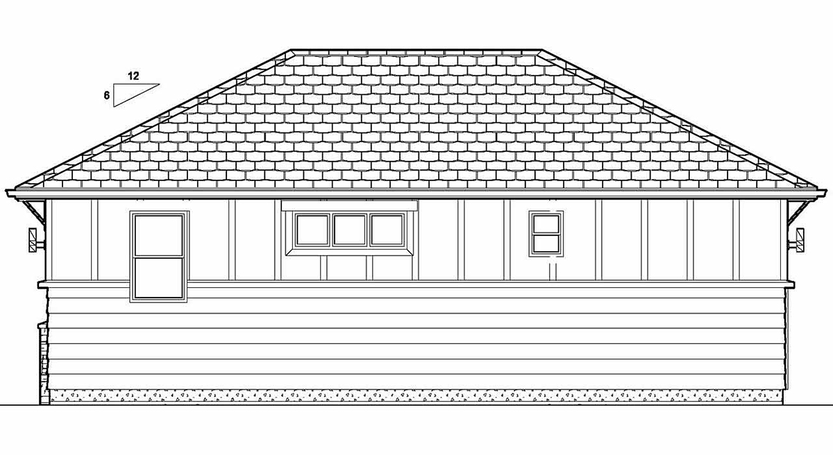 Bungalow, Cottage, Craftsman House Plan 80515 with 1 Beds, 1 Baths Rear Elevation