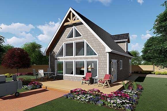A-Frame, Cabin House Plan 80517 with 3 Beds, 3 Baths Elevation