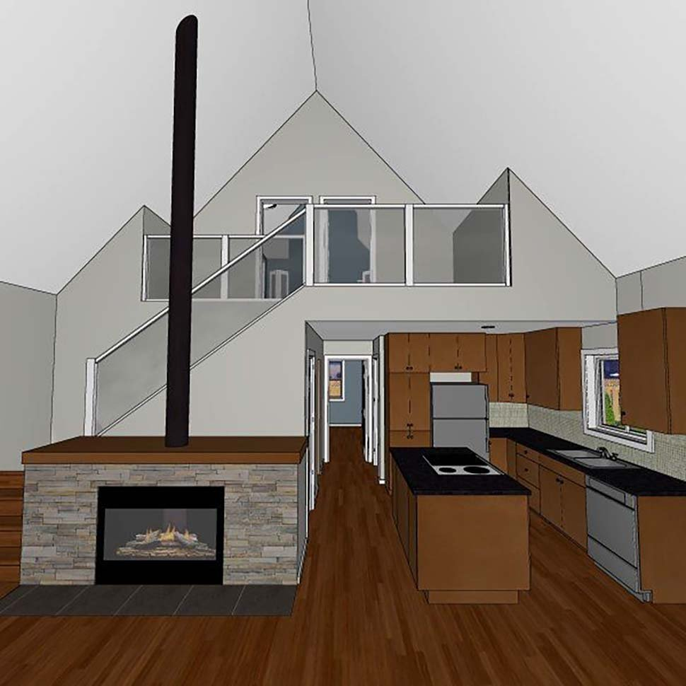 A-Frame, Cabin House Plan 80517 with 3 Beds, 3 Baths Picture 3