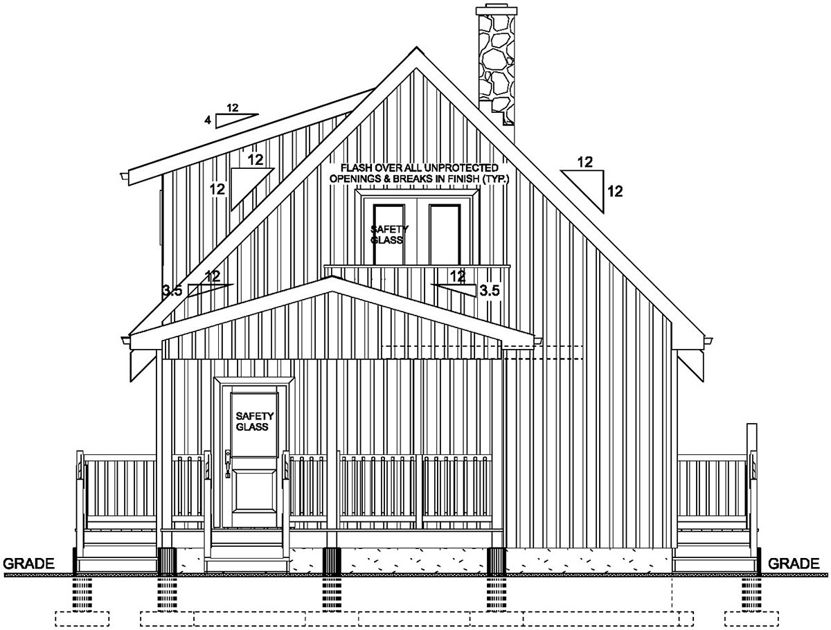 A-Frame, Cabin House Plan 80518 with 2 Beds, 2 Baths Rear Elevation