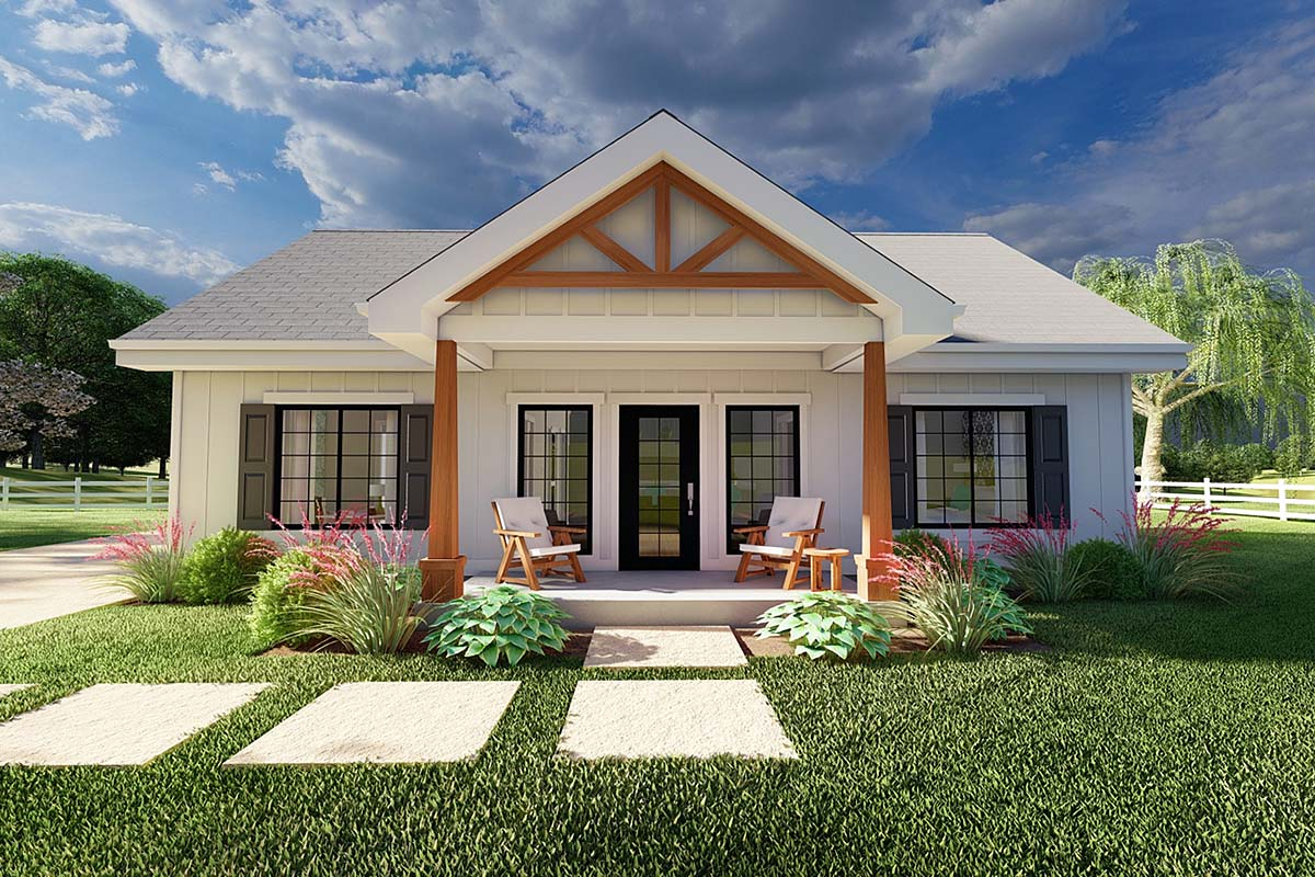 Country, Craftsman, Farmhouse, Ranch House Plan 80523 with 2 Beds, 2 Baths Elevation
