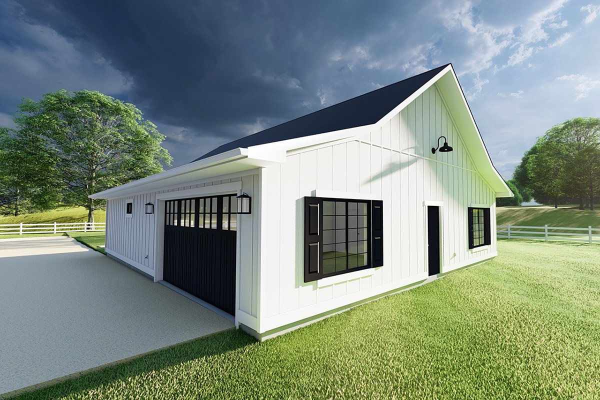 Country, Farmhouse, Ranch House Plan 80524 with 3 Beds, 2 Baths, 2 Car Garage Rear Elevation