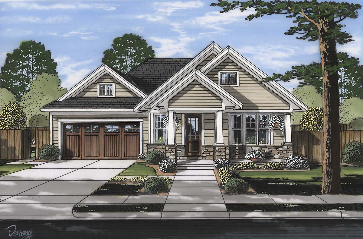 Bungalow, Cottage, Craftsman, Ranch House Plan 80607 with 3 Beds, 2 Baths, 2 Car Garage Elevation